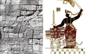 نقش يوضح الكنداكة أماني ريناس و هي تبطش بأعداء مملكة كوش و تهزمهم