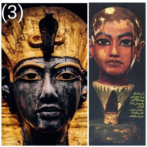صورة تماثيل أصلية لتوت عنخ امون باللون والملامح النوبية الواضحة